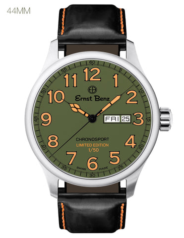 Ernst Benz Limited Edition ChronoCombat Chronosport 44mm Green Dial Men's Watch GC40200/CC1