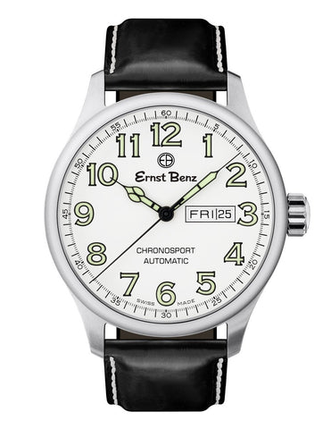 Ernst Benz Chronosport Traditional Swiss Automatic White Dial Green Numerals 44mm Men's Watch GC40212