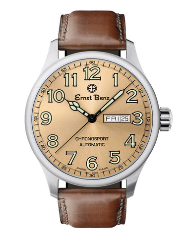 Ernst Benz Chronosport Copper Dial Green Numerals 44mm Swiss Automatic Men's Watch GC40213