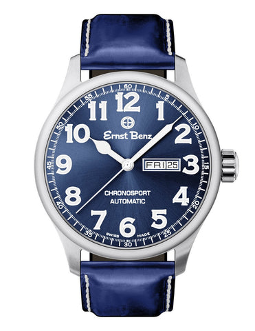 Ernst Benz Chronosport Blue Dial White Numerals 44mm Automatic Men's Watch GC40214