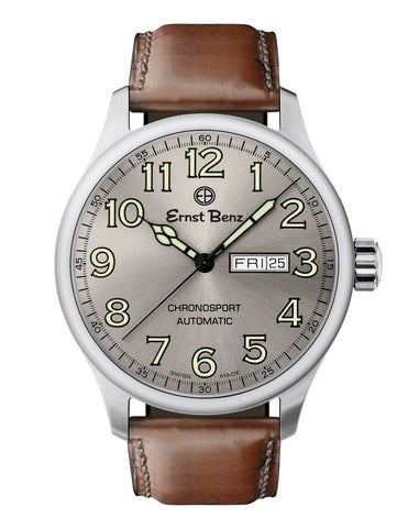 Ernst Benz Chronosport Slate Dial Brown Leather Band 44mm Automatic Men's Watch GC40215