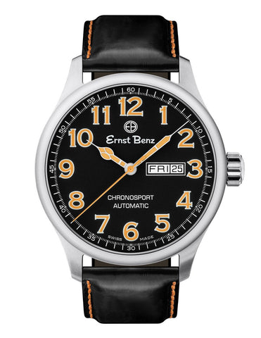 Ernst Benz Chronosport Orange Numerals Black Leather Band 44mm Men's Automatic Watch GC40216