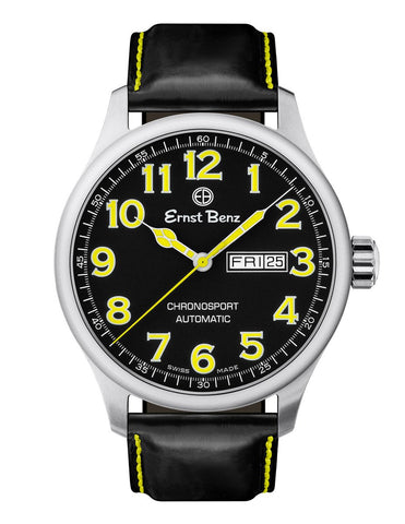 Ernst Benz Chronosport Swiss Automatic Yellow Numerals 44mm Men's Watch GC40217