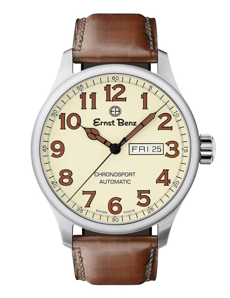 Ernst Benz Chronosport Parchment Dial Brown Leather Band 44mm Men's Automatic Watch GC40218