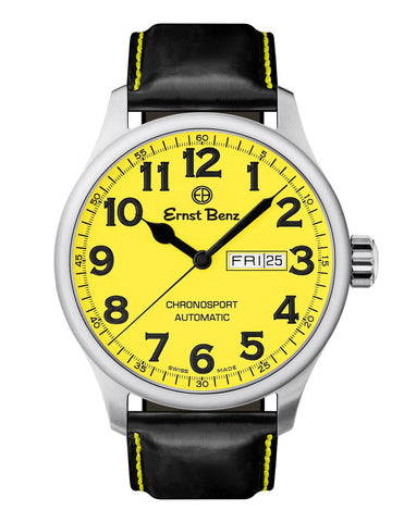 Ernst Benz Chronosport 44mm Swiss Automatic Yellow Dial Black Numerals Men's Watch GC40219