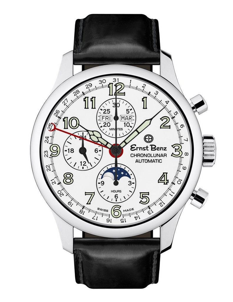 Ernst Benz GC40312 Men's Automatic Watch 44mm ChronoLunar White Dial Brown Leather Strap Swiss Made