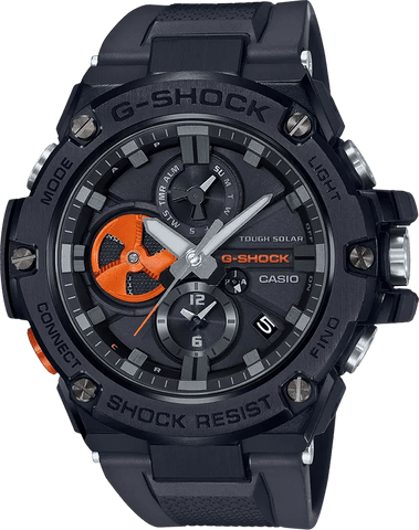 G-Shock G-STEEL Black Stainless Steel Orange Accents Men's Watch GSTB100B-1A4