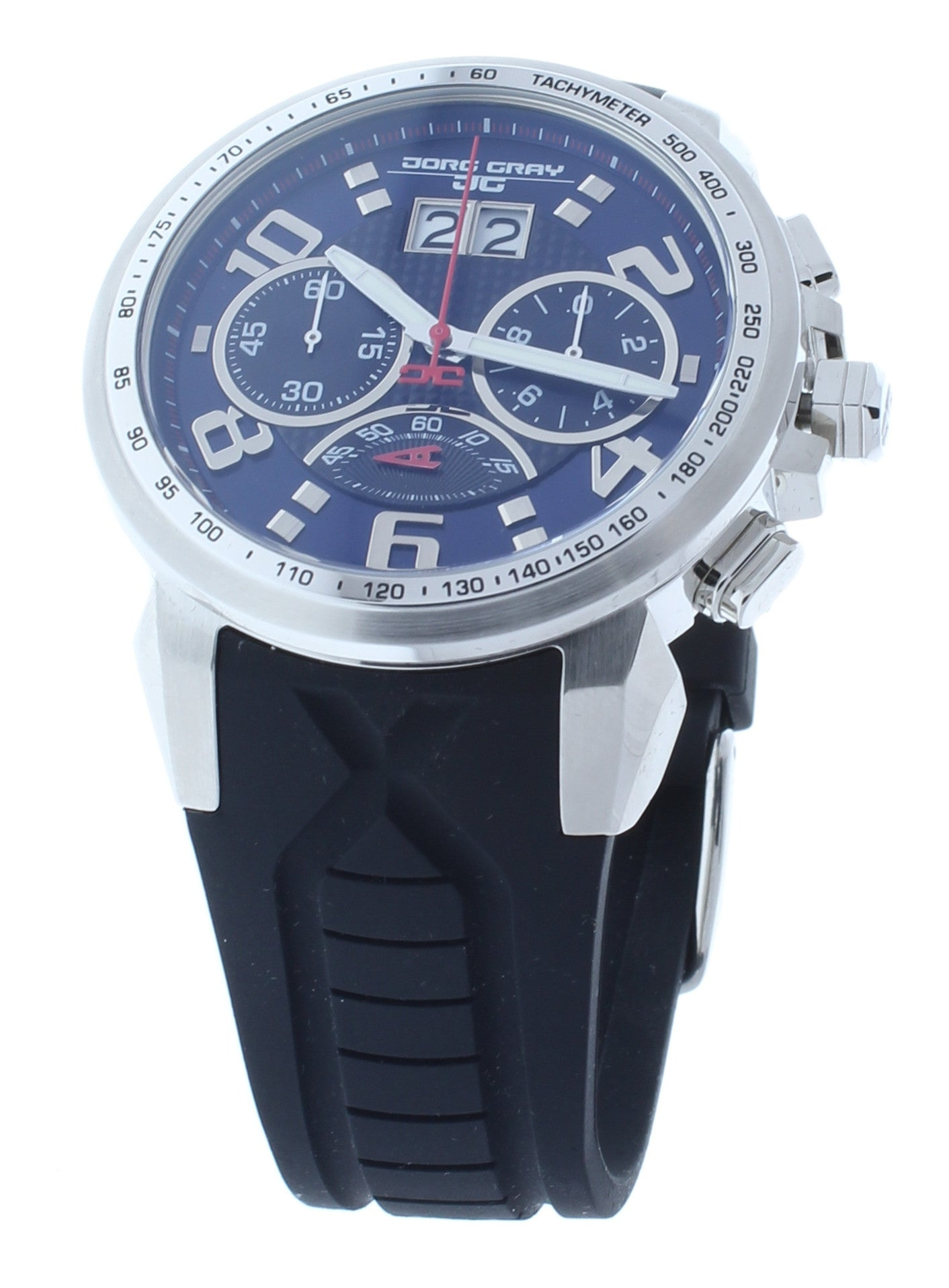 Jorg Gray JG5600-23 Men's Watch Chronograph Blue Dial With Integrated Black Silicone Strap