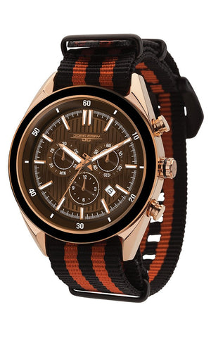 Jorg Gray JG6900-21N Mens Watch Chronograph Brown Dial Two-Tone Nato Strap