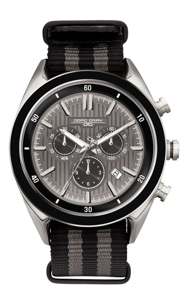 Jorg Gray JG6900-23N Mens Watch Chronograph Gray Dial Two-Tone NATO Strap