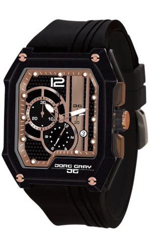 Jorg Gray JG7100-21 Men's Watch Rose Gold And Black Dial Chronograph Rectangular Case