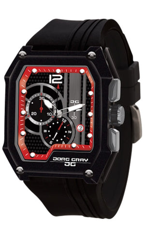 Jorg Gray JG7100-23 Men's Watch Black With Red Dial Chronograph Rectangular Case