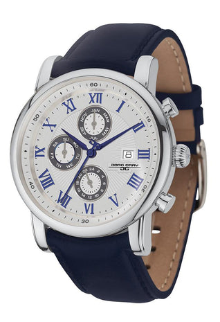 Jorg Gray JG7600-32 Men's Watch 42mm Blue/Silver Mulitfunction Dress Blue Leather Strap