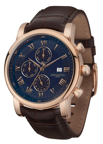 Jorg Gray JG7600-33 Men's Watch 42mm Rose Gold Case Blue Dial Multifunction Brown Leather Strap