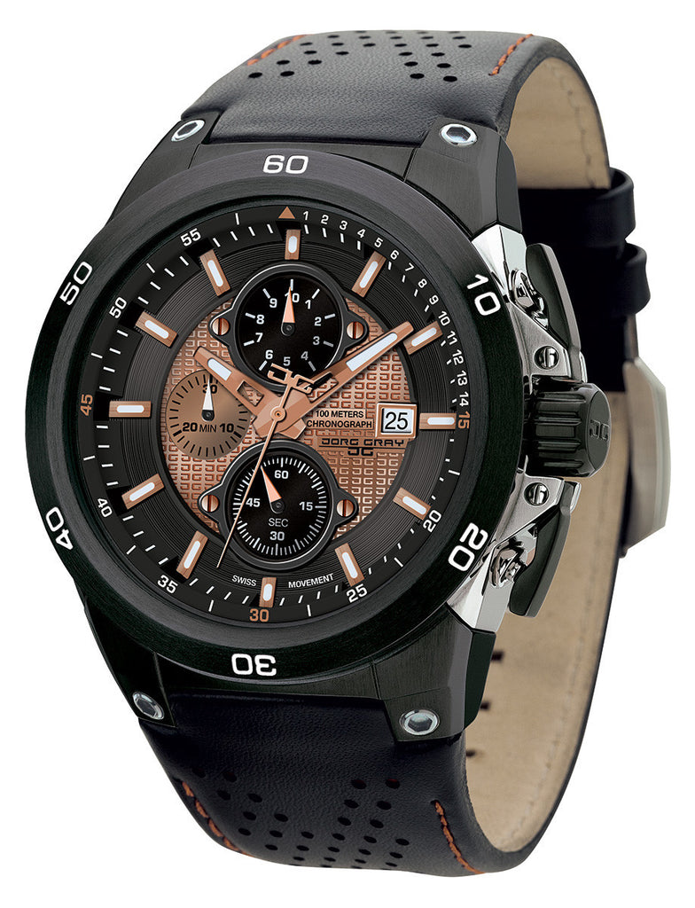 Jorg Gray JG7800-22 Men's Watch Swiss Chronograph Bronze & Black Leather Strap