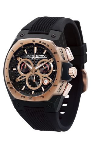 Jorg Gray JG8300-22 Men's Watch Chronograph Rose Gold and Black Dial Black Silicone Strap