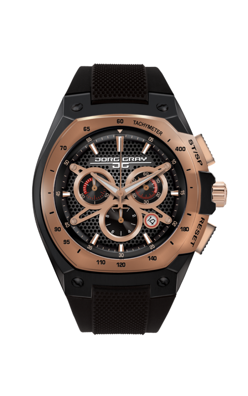Jorg Gray JG8300-21 Men's Watch Chronograph Rose Gold and Black Dial Black Silicone Strap