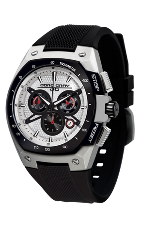 Jorg Gray JG8300-22 Men's Watch Chronograph White Dial Black Silicone Strap