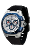 Jorg Gray JG8300-24 Men's Watch Chronograph White and Blue Dial Black Silicone Strap