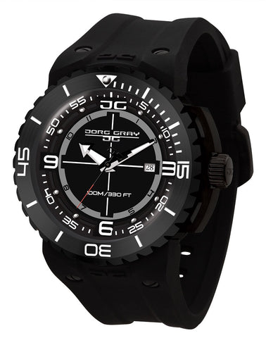 Jorg Gray JG8700-13 Men's Black Watch 47mm Swiss Rhonda Movt Black Silicone Strap