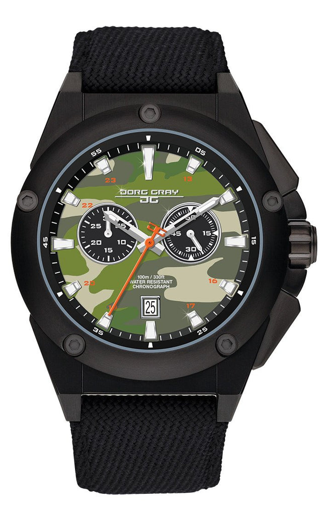 Jorg Gray JG8800-21B Mens Watch Green Camo Dial Chrono Black Canvas Leather Strap