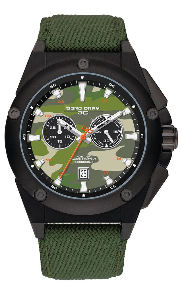 Jorg Gray JG8800-21 Mens Watch Camo Dial Chrono Dark Green Canvas Leather Strap