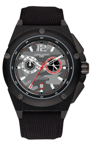 Jorg Gray JG8800-22 Mens Watch Black Camo Dial Chrono Black Canvas Leather Strap