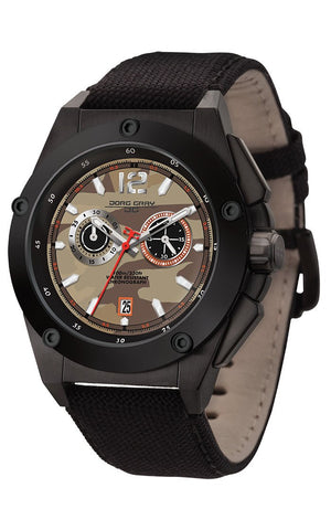 Jorg Gray JG8800-23B Mens Watch Tan Camo Dial Chrono Black Canvas Leather Strap
