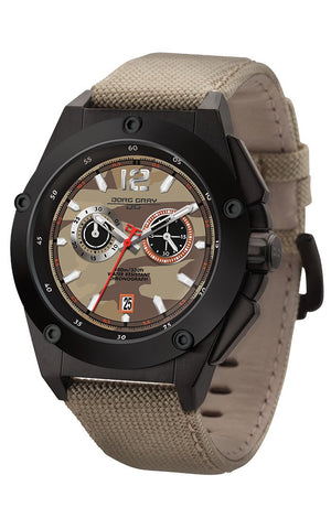 Jorg Gray JG8800-23 Mens Watch Tan Camo Dial Chrono Tan Canvas Leather Strap