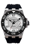Jorg Gray JG9600-11 Men's Watch White Dial Swiss Movement With Black Silicone Rubber Strap