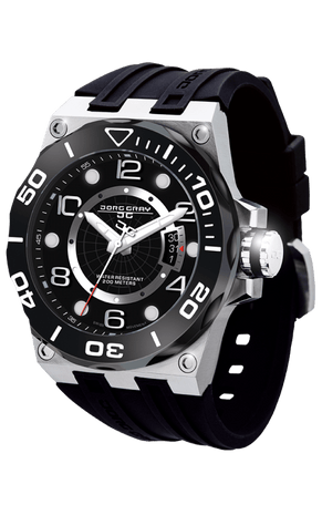 Jorg Gray JG9600-12 Men's Watch Black Dial Swiss Movement With Black Silicone Rubber Strap