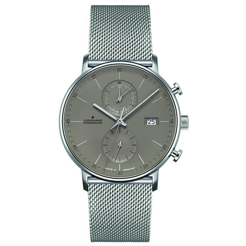 Junghans Form C Chronoscope 45mm Quartz Matte Silver Dial Men's Watch 041/4878.44