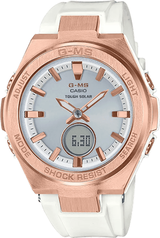 G-Shock Baby-G G-MS Rose Gold Case White Strap Women's Watch MSGS200G-7A