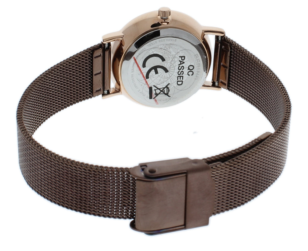 BERING 13426-265 Women's Watch Slim Rose Gold Stainless Steel Case Brown Mesh Band