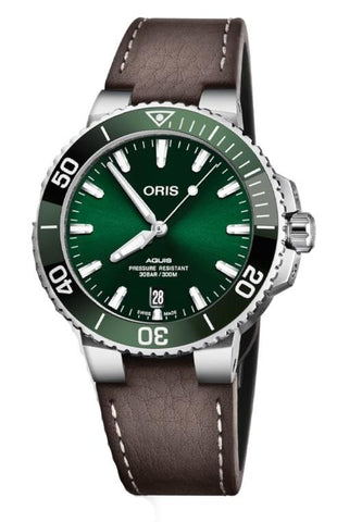 Oris Aquis Date 39.5mm Brown Leather Strap Men's Watch 01 733 7732 4157-07 5 21 10FC