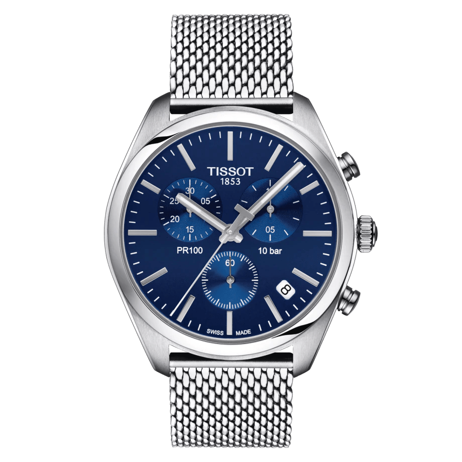Tissot PR 100 Chronograph Blue Dial Mesh Strap Men's Watch T1014171104100