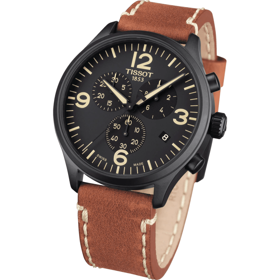 Tissot Chrono XL Classic Black Dial Brown Leather Strap Men's Watch T1166173605700