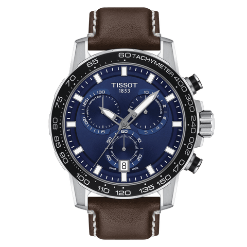 Tissot Supersport Chrono Blue Dial Brown Leather Strap Men's Watch T1256171604100