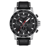 Tissot Supersport Chrono Black Dial Black Leather Strap Men's Watch T1256171605100