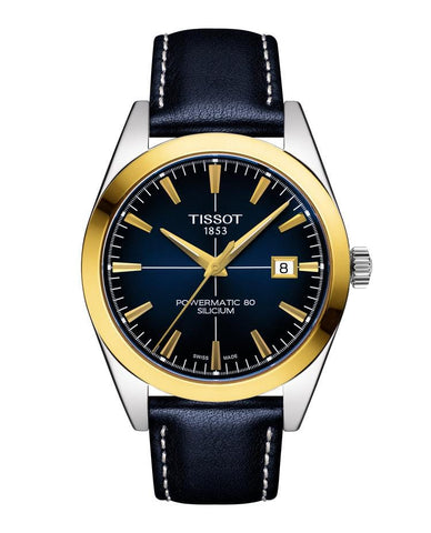 Tissot Gentleman Powermatic 80 Silicium 18K Gold Bezel Blue Men's Watch T9274074604101