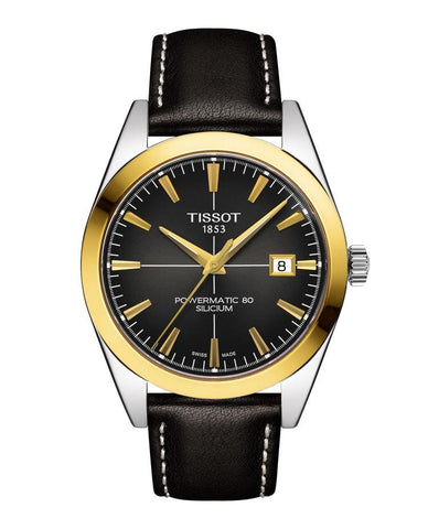 Tissot Gentleman Powermatic 80 Silicium 18K Gold Bezel Black Men's Watch T9274074606101