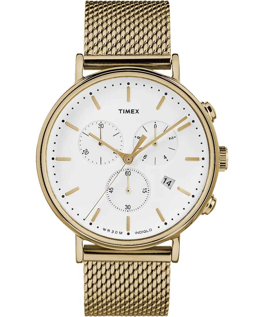 Timex Fairfield 41mm Chronograph Gold Stainless Steel Mesh Men's Watch TW2R27200