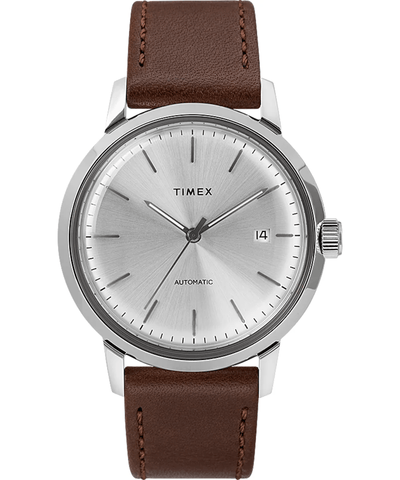 Timex Marlin 40mm Automatic Brown Leather Strap Men's Watch TW2T22700