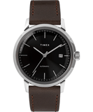 Timex Marlin 40mm Automatic Black Dial Leather Strap Men's Watch TW2T23000