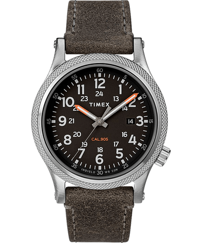 Timex Military Allied 40mm Grey Leather Strap Men's Watch TW2T33200