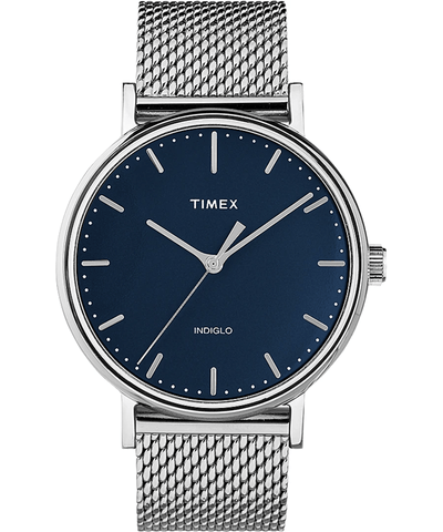 Timex Fairfield 41mm Blue Dial Stainless Steel Mesh Men's Watch TW2T37500