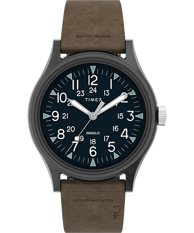 Timex Military MK1 40mm Brown Leather Strap Men's Watch TW2T68200