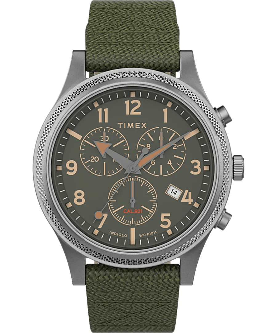 Timex Military Allied LT 42mm Green Fabric Strap Men's Watch TW2T75800