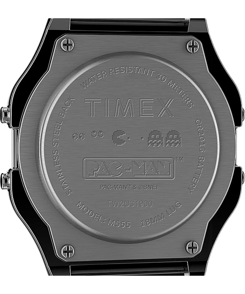 Timex T80 x PAC-MAN 34mm Digital Black Stainless Steel Unisex Watch TW2U32100