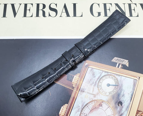 Universal Genève Vintage 17mm Black Leather Watch Strap